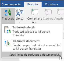 Afișează setare limbă de traducere Document sub meniul theTranslate