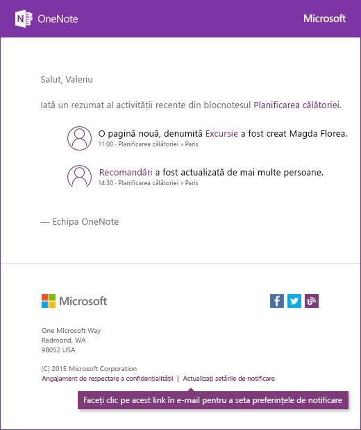 Un exemplu de mesaj de e-mail de notificare OneNote