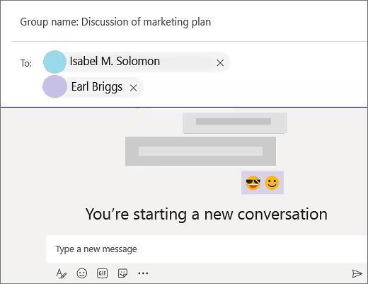 Începeți un chat în grup în teams.