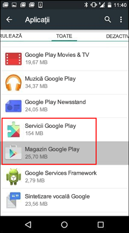 Golirea memoriei cache din aplicația Magazin Google Play