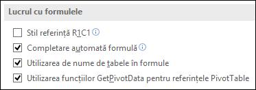 Fișier > Opțiuni > formule > lucrul cu formule > stilul de referință R1C1
