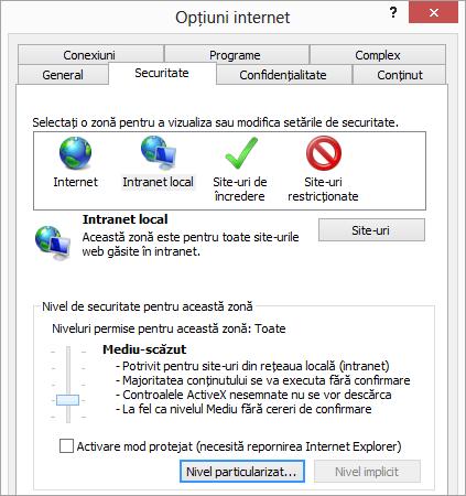 Fila securitate de Opțiuni Internet Explorer, afișând butonul nivel particularizat