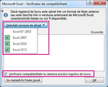 Verificatorul de compatibilitate, afișând versiunile de verificat