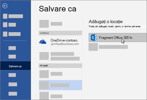Adăugarea OneDrive pentru business ca loc de salvare în Word