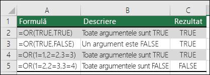Exemple de utilizare a funcției OR.