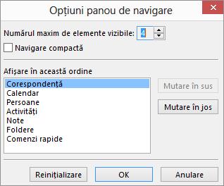 Acces rapid bara caseta de dialog Opțiuni de navigare