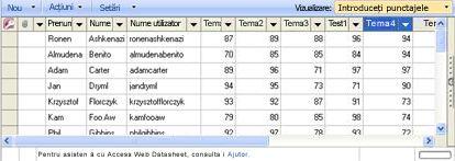 Vizualizarea foaie de date Introduceți punctajele vă permite să actualizați punctajele.