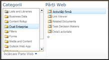 Selectorul de părți Web vă permite să navigați la partea Web Business Tasks pe care doriți să o inserați.