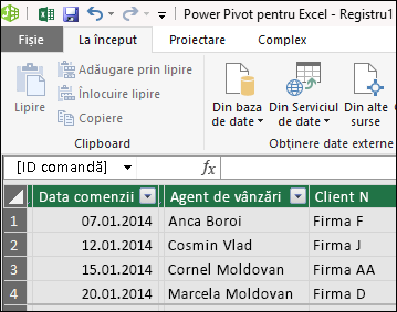 Power Pivot Table vizualizare
