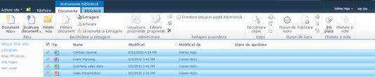 Bibliotecă de documente SharePoint cu mai multe fișiere marcate pentru extragere