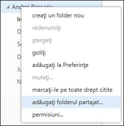 Opțiunea din meniul afișat la clic dreapta Adăugați folderul partajat din Outlook Web App