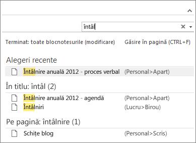 Utilizați Căutarea pentru a căuta note din orice loc din OneNote.