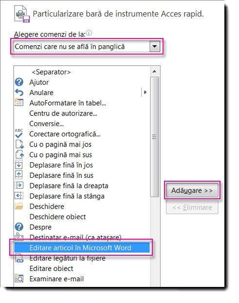 Adăugați butonul Editare articol în Microsoft Word în QAT din Publisher.