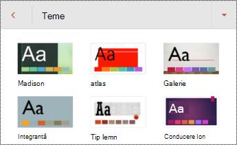 Teme pentru diapozitive în PowerPoint pentru Android.