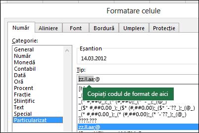 Exemplu de utilizare a casetei de dialog Format > Celule > Număr > Personalizat pentru ca Excel să creeze șiruri de formatare pentru dvs.