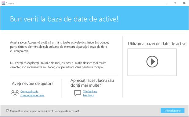 Formularul Introducere dintr-un șablon de bază de date de active Access