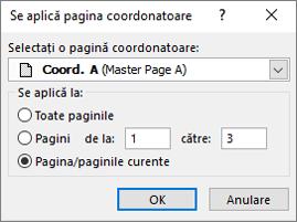 Captură de ecran afișează caseta de dialog aplicați pagina coordonatoare.