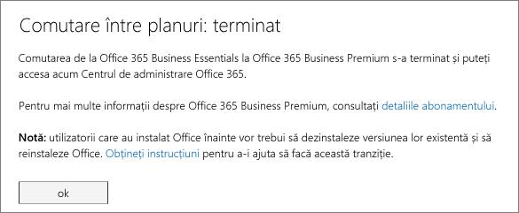 Lista de produse și servicii din pagina de înscriere Office 365.
