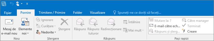 Iată cum arată panglica în Outlook 2016.