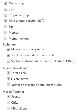 raportul grupuri Office 365 - alegere coloane