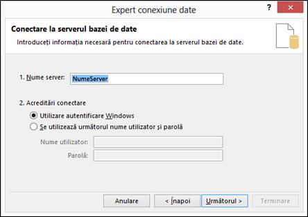 Expertul conexiune de date > Conectare la server