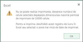 mesaj care anunță că nu se poate crea un tabel cu mai mult de 10.000 de celule
