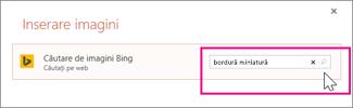 Căutarea de miniaturi bordură pe Bing
