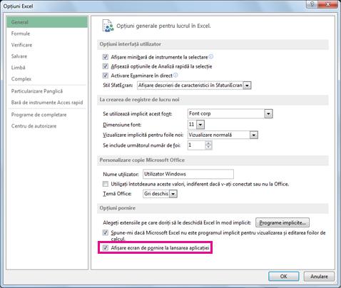 Opțiuni de pornire din caseta de dialog Opțiuni Excel
