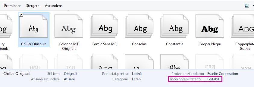 Încorporare Font ecran 2