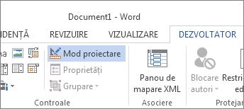 Butonul Mod proiectare