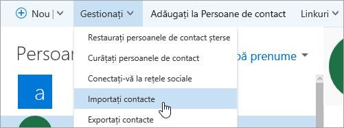 O captură de ecran a butonului Import persoane de contact.