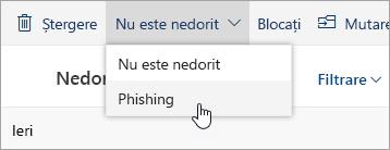 Captură de ecran a butonului Phishing din meniul vertical Nu este nedorit