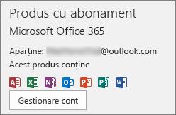Afișează contul de e-mail asociat cu Office