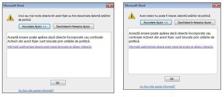 Mesajele de eroare Embedded-object și ActiveX-control