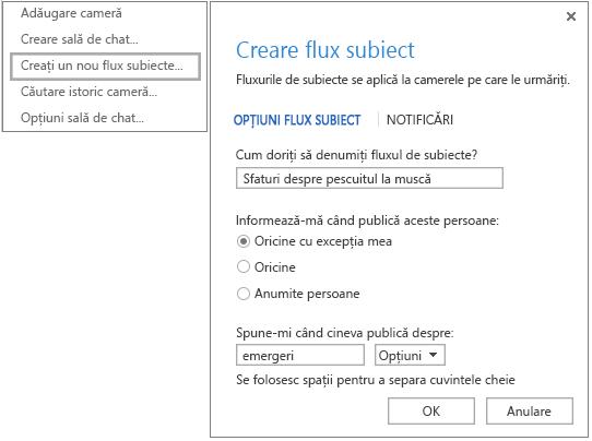 Captură de ecran afișând selecția din meniu și fereastra pentru crearea fluxurilor despre subiecte