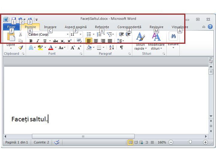 Fila Pornire din Word 2010 cu Sfaturi pentru taste afișate