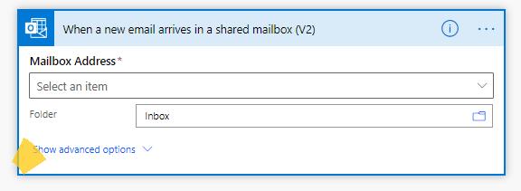 Power automatizat-când sosește un mesaj de e-mail nou în cutia poștală partajată (v2)-Afișați opțiunile complexe