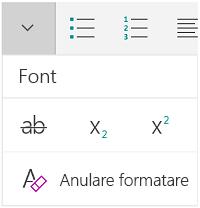 Meniul Font
