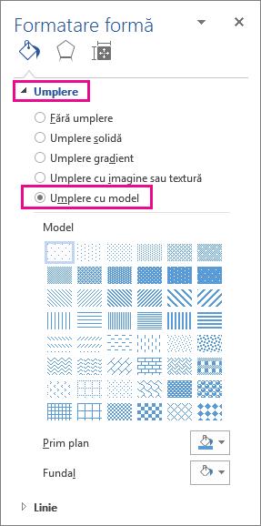 Selectarea umplerii modelului în panoul formatare formă