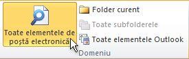 Toate elementele de poștă electronică în panglică