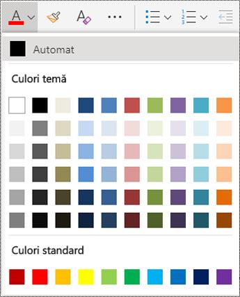 Opțiunile meniului Culoare font în OneNote Online.