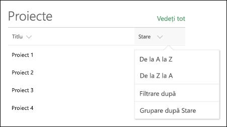 Partea web listă cu sortarea, filtrarea și grup menu