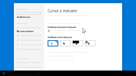 Modificați dimensiunea cursorului sau a indicatorului în setările Simplificare acces.