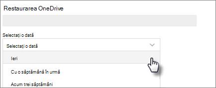 Captură de ecran a selectării unei date în ecranul Restaurarea OneDrive