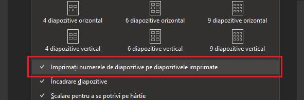 Caseta de dialog Imprimare cu numerele de diapozitiv imprimate din diapozitivele imprimate evidențiate