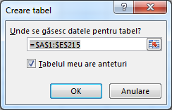 fereastra creare tabel