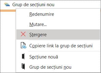 Caseta de dialog Ștergere grup de secțiuni din OneNote pentru Windows