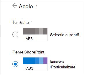 Selectați o temă nouă pentru SharePoint site