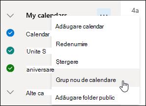 Captură de ecran a butonului Grup nou de calendare