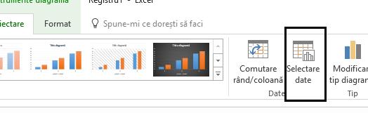 Opțiunea Selectare date se află pe fila Proiectare.